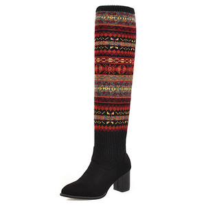 Image 2 - FEDONAS مختلط الألوان الجوارب أحذية النساء فوق حذاء برقبة للركبة حجم كبير أحذية ذات كعب عالي امرأة الخريف الشتاء الدافئة طويلة الأحذية