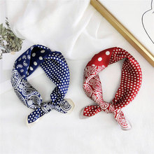 Silk Small Square Scarf Women Spring and Autumn Summer All -Match Korean Headscarf Work Occupation Neckerchief Printing