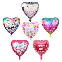 10 Uds 18 pulgadas impreso madre español Globos de papel de aluminio de Día de la madre en forma de corazón te amo mamá globo cumpleaños globo de decoración Globos