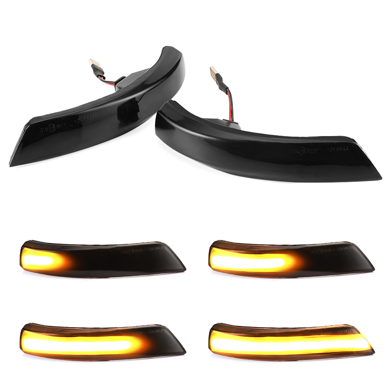 Black Dynamic Turn Signal Light <font><b>LED</b></font> Side Rearview Mirror Sequential Indicator Blinker Lamp For <font><b>Ford</b></font> <font><b>Focus</b></font> 2 3 Mk2 <font><b>Mk3</b></font> Mondeo Mk4 image