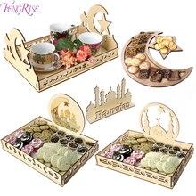 FENGRISE DIY Wooden Dessert Tray EID MUBARAK Ramadan Decoration For Home lslamic Muslim Mubarak Pendants Party Decor EID AI Adha
