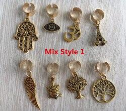 Freies verschiffen 8 teile/paket gold einstellbare haar braid furcht dreadlock perlen clips manschette Charme für Haar Styling Zubehör