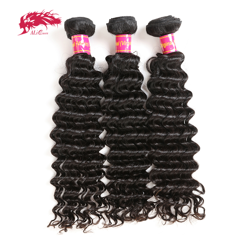 Ali Queen Hair Brazilian Deep Wave Human Hair Extension 3pcs 100% Human Hair Weave Bundles 12