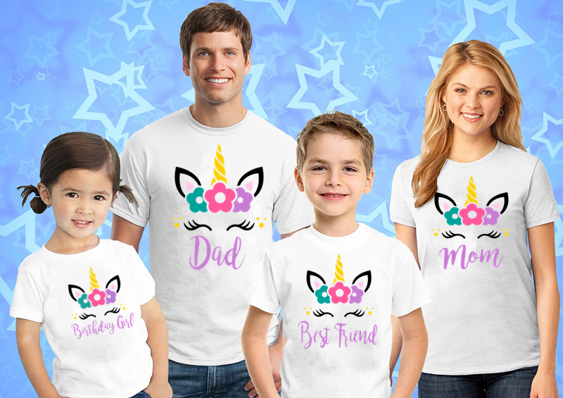 Unicorn Birthday Shirt, Paired Birthday Family Shirt Unicorn Crown Birthday Shirt Unicorn Mother And Daughter Clothes  Unicorn