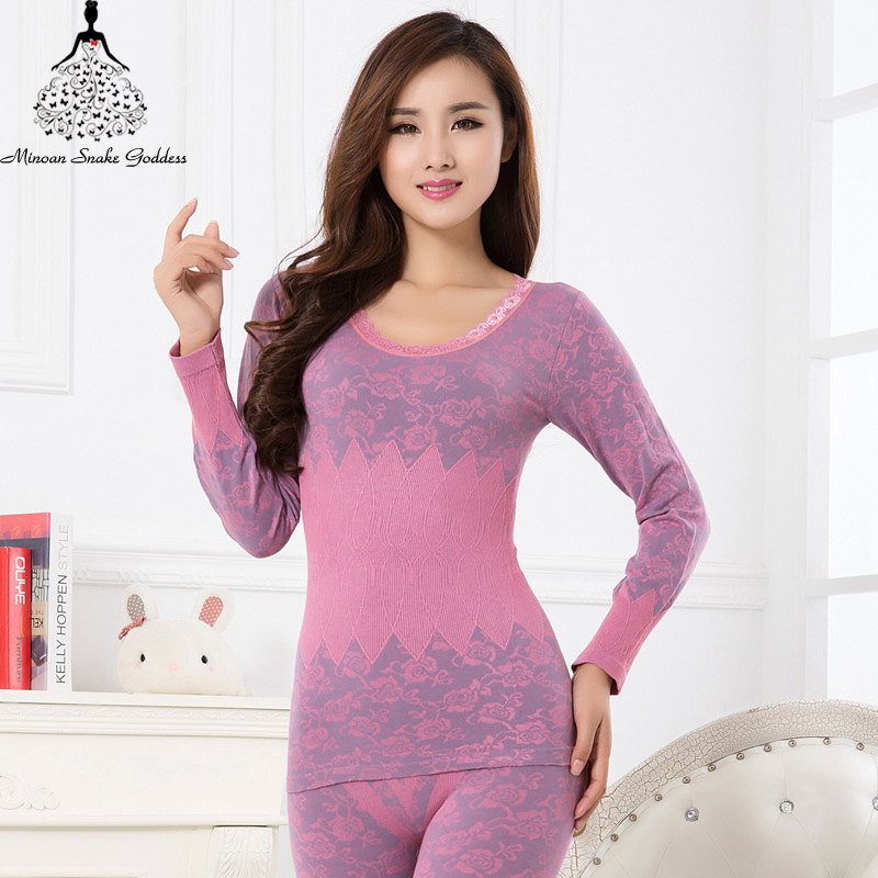 Long Johns For Women Thermal Underwear Set Warm Winter Wear Clothes Cotton Thermo Lingerie Thermal Suit Female Tops+Pants