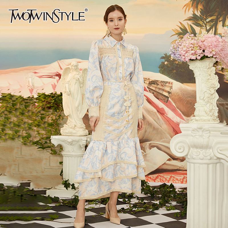 TWOTWINSTYLE Print Two Piece Sets Female Lapel Collar Lantern Long Sleeve High Waist Sashes Ruffle Suits For Women Fashion Tide
