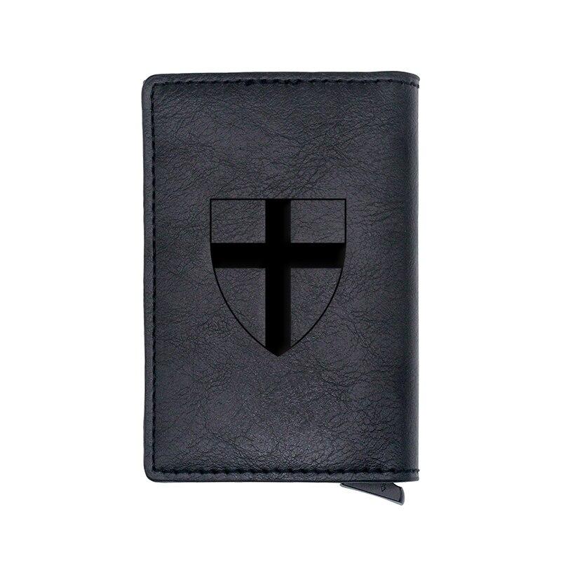 Classic Vintage  Knight Templar Shield Design Card Holder Wallets Men Women Leather Short Purse Slim Mini Wallet Small Money Bag
