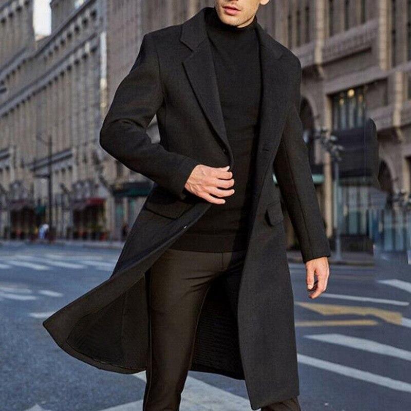 Laamei Men Winter Wool Jacket Men Long Trench Coat Casual Warm Wool Coat Streetwear Lapel Business Overcoat Parka S-2XL