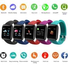 Reloj inteligente deportivo para hombre y mujer, pulsera con podómetro, control del ritmo cardíaco y de la presión sanguínea, 116 Plus