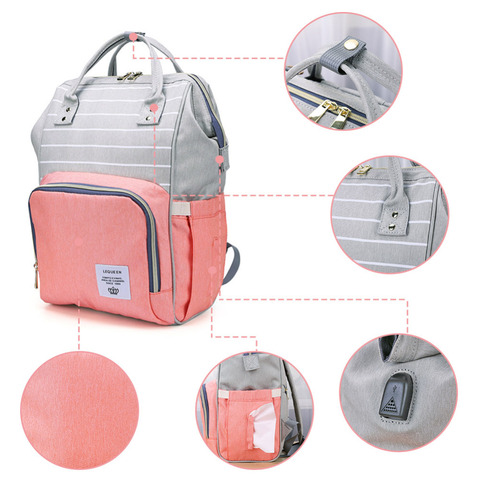 Fashion USB Mummy Maternity Diaper Bag Large Nursing Travel Backpack Designer Stroller Baby Bag Baby Care Nappy a Bag Islamabad