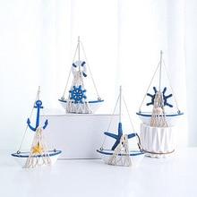 Marine Nautical Creative Sailboat Mode Room Decor Figurines Miniatures Mediterranean Style Ship Small Boat Ornaments