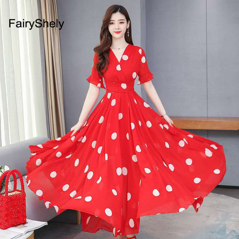 FairyShely 2020 Spring Summer Boho Dot Maxi Long <font><b>Dress</b></font> <font><b>Women</b></font> <font><b>Sexy</b></font> Chiffon Red <font><b>Dress</b></font> Celebrity <font><b>Evening</b></font> <font><b>Party</b></font> <font><b>Dress</b></font> Vestidos image