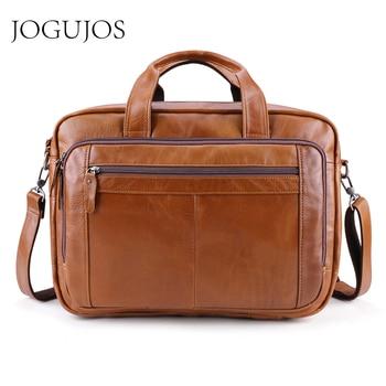 JOGUJOS Leather Travel Handbag Crossbody Bags for Men Genuine Leather Busniess Messenger Bag Brand Shoulder Bag Travel Bag