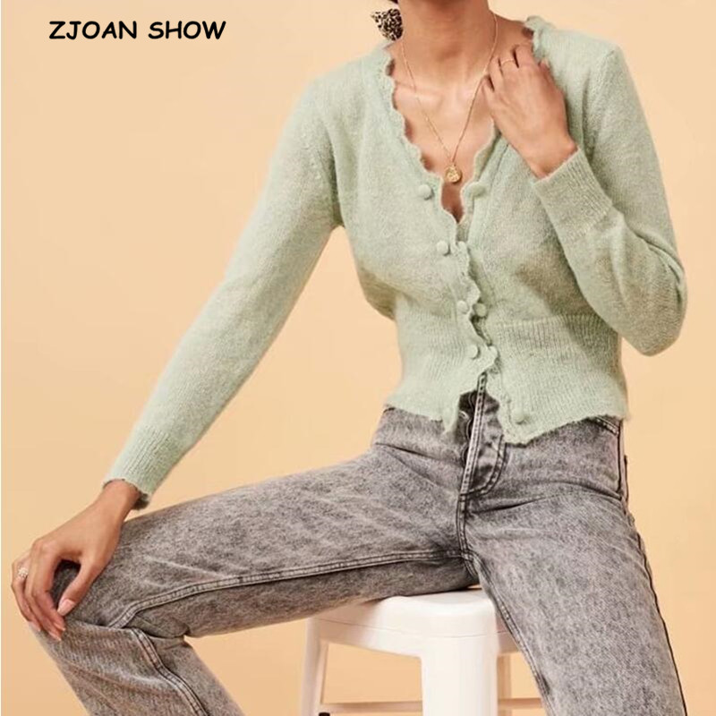 2020 France Arthur Cardigans Green Women Sweater Retro Wave Center Buttons Long Sleeve Knitting Knitwear Tops Vintage Sweater