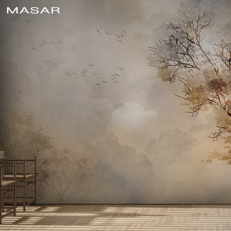 MASAR HD Environmental Fresco Bird And Tree Old Man Room Living Room Bedroom Background Wall Paper Dim Moonlight