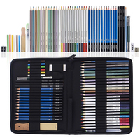 51 Piece Drawing Pencils, Colouring Pencils and Sketch Pencils Set with Drawing Tool in Pop Up Zipper Case Ideal Gift