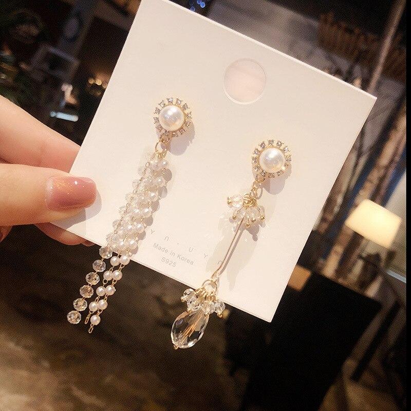 Pearl ear rings Silver earrings 925 Silver needle crystal tassel Chain earrings Lotus Wedding Earrings Baroque pearlE1082 in Earrings from Jewelry Accessories