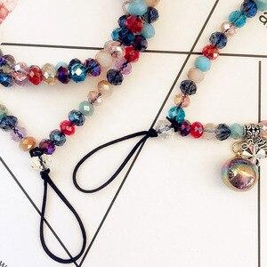Image 3 - Vrouwen telefoon lanyard opknoping hals crystal kleurrijke gemengde telefoon opknoping nek touw crystal sleutelhanger badge sling universele Bandjes