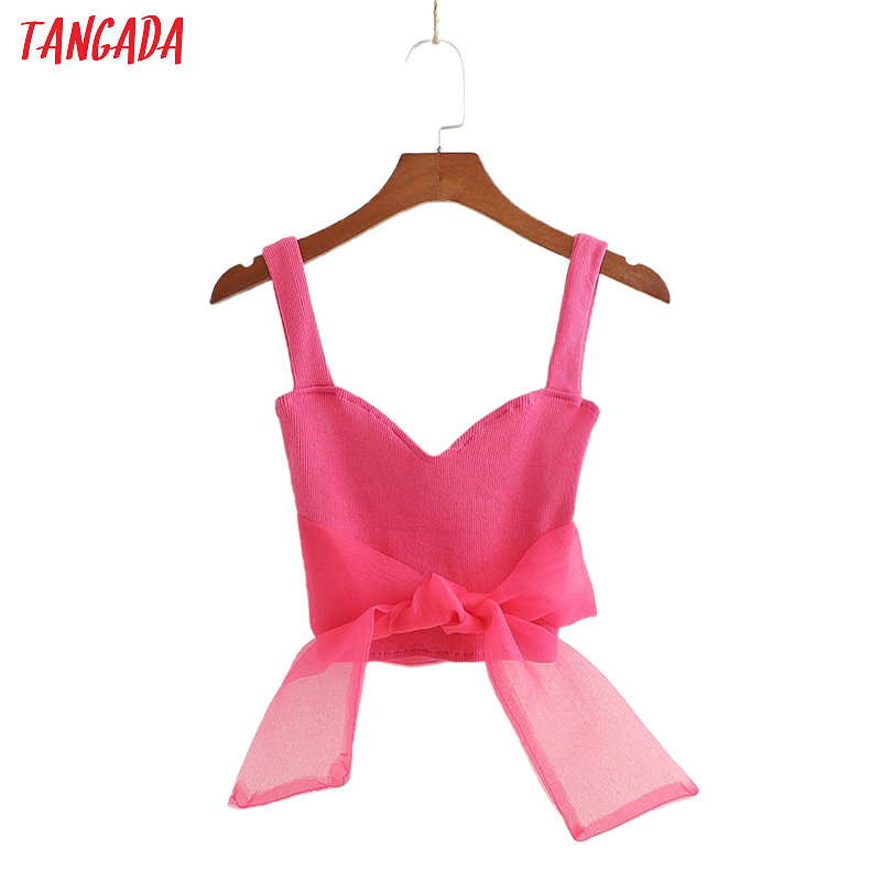 Tangada Women Sexy Hotpink Camis Top Mesh Bow Patchwork Spaghetti Strap Sleeveless Short Shirts Female Summer Solid Tops 1D220