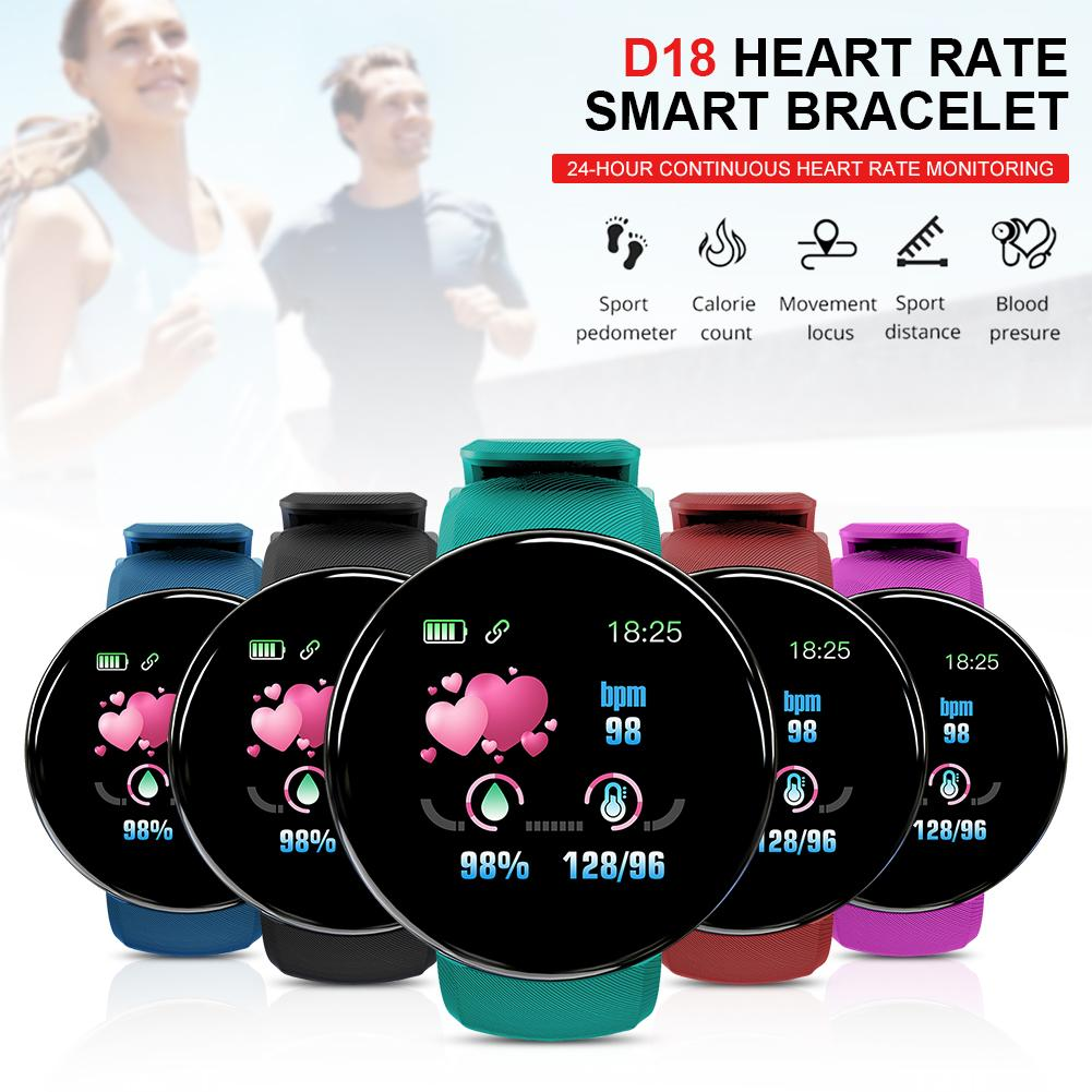 D18 Bluetooth Smart Smart Watch Health Monitoring Pedometer Sport Watch Compatible IOS Android For Women Men Sport Bracelet