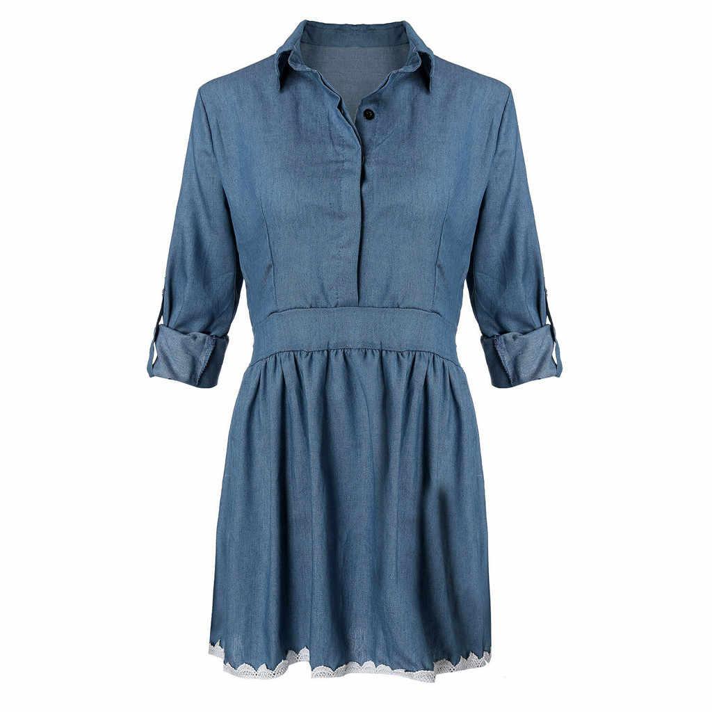 גבוהה באיכות סתיו ינס שמלת בגדים בתוספת גודל נשים ג 'ינס שמלת אלגנטי אביב slim קאובוי מקרית לפרוע שמלות vestidos
