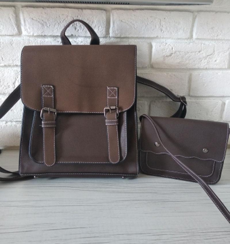 H40e1e9b01bd640ef86af3d41dbb5e176n Fashion 2 PCS/SET Leather Women Backpacks for Teenagers female Back Pack Large Capacity Pu Travelling Bags Vintage school bag