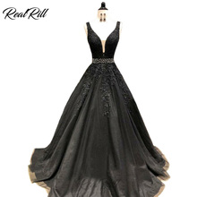 Real Rill V-Ncek Prom Dresses 2019 Long Tulle Evening Gown With Appliques And Beaded Sash V-Back Floor Length Dress For Party