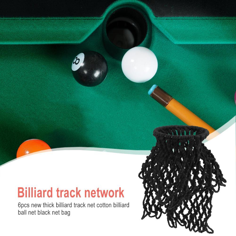 6Pcs Billiards Table Nets Pool Snooker Mesh Pocket Bag Replacement Set Black