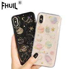 Drop gum planet Phone Case For iPhone 6 6s 7 8 Plus X XR XS Max Starry sky TPU Soft Shell Cases For iPhone X Glitter Cases cover стоимость