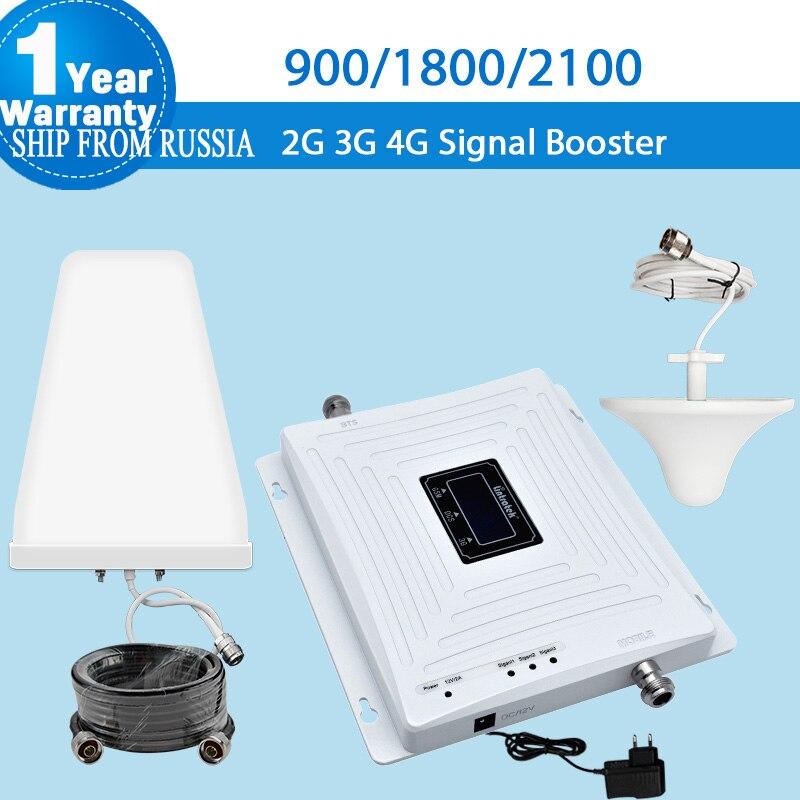 Усилитель сотового сигнала Lintratek, GSM 2G 3g 4G, 900/1800/2100, Усилитель сотового телефона, антенна, 3 KW20C-GDW, усилитель 5