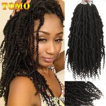 TOMO önceden bükülmüş bahar büküm saç 12 inç sentetik tığ örgü saç ekleme siyah kadınlar için 24 ipliklerini Ombre tutku büküm