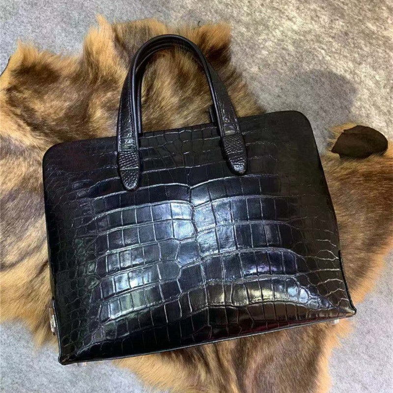 Authentic Crocodile Belly Skin Men's Working Briefcase Real Alligator Leather Zipper Closure Male Handbag Large Shoulder Bag