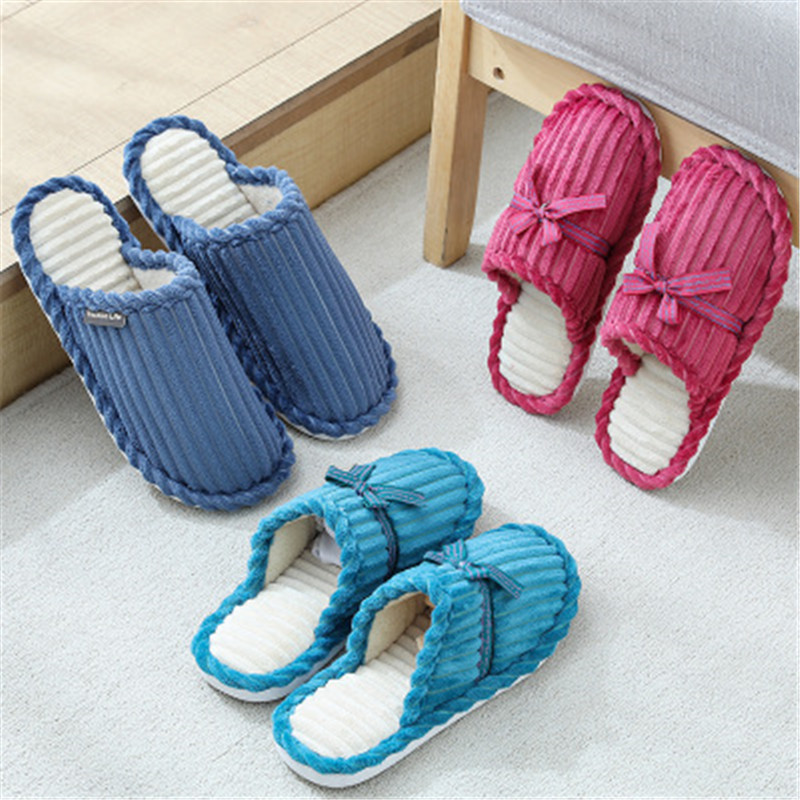 Men and women home slippers spring and autumn warm herringbone cartoon cotton slip non-slip warm indoor bedroom couple slippers