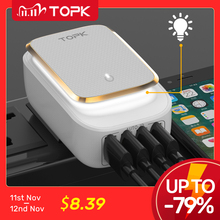 TOPK 4 Port 4.4A(Max) 22W EU USB Charger Adapter LED Lamp Auto ID Portable Phone Travel Wall Charger for iPhone Samsung