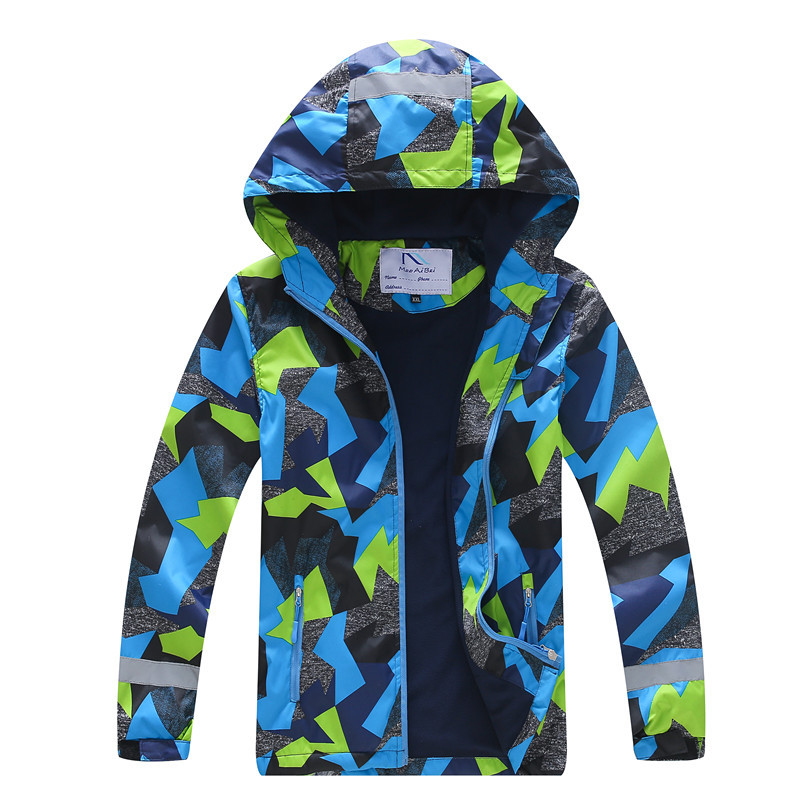 Hooded Waterproof Kids Outfits Warm Baby Boys Jackets Printed Child Coat Polar Fleece Windproof Children Outerwear For 100 150cm in Jackets Coats from Mother Kids