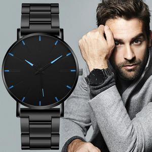 Часы наручные мужские ультратонкие, модные минималистичные простые деловые кварцевые с сетчатым ремешком из нержавеющей стали, 2020