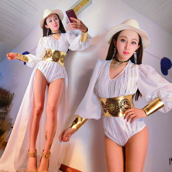 Jazz Dance Costumes Women White Bodysuit Singers Performance Clothing Pole Dance Dj Disco Jumpsuit Gogo Rave Outfit DC3488