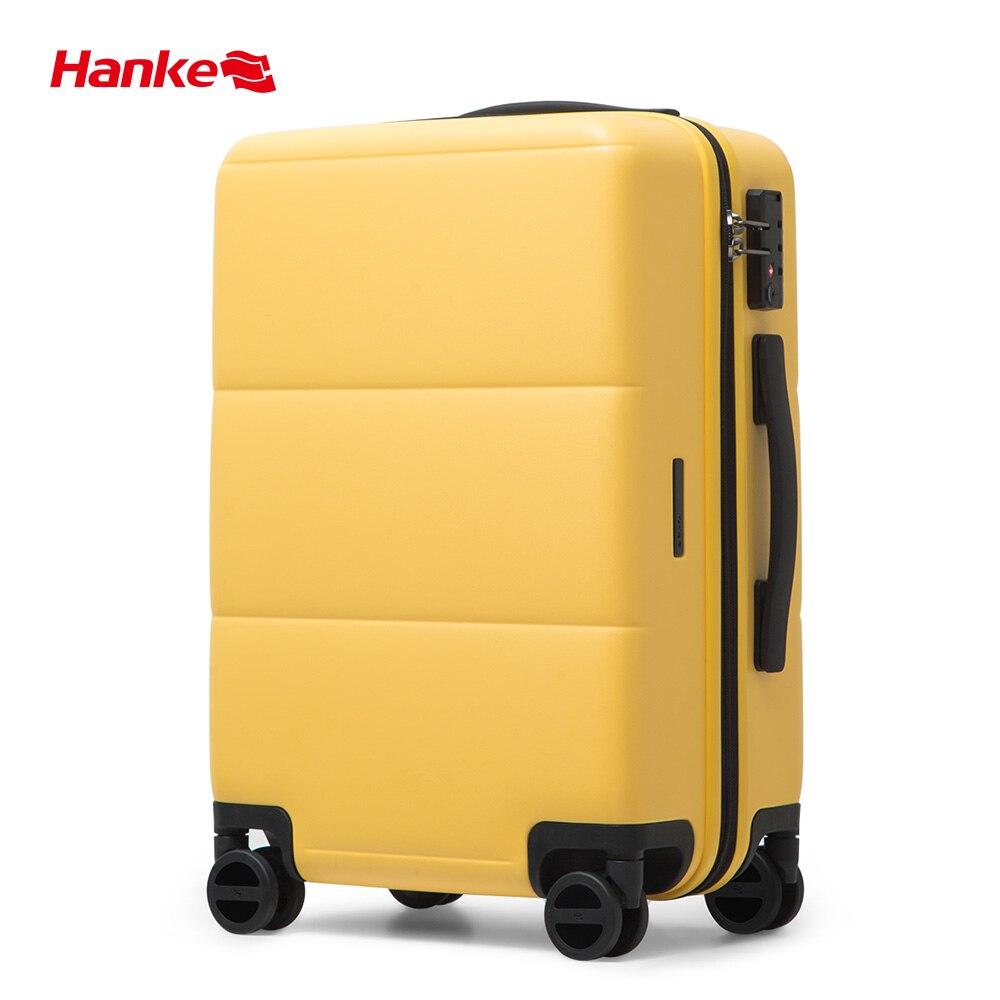 Hanke 2020 New Design Bayer PC Luggage Men Suitcase Women Travel Trolley Baggage Carry On Cabin Spinner Wheels YKK ZIpper H9835