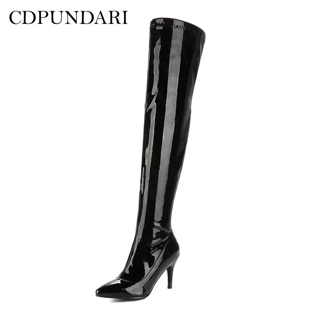 Hitam Tinggi Heels Sepatu Bot Di Atas Lutut Wanita Paha Tinggi Boots Wanita Musim Semi Sepatu Wanita Cuissardes Seksi Cakar Hauts Seksi hautes-pyr