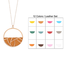 Cremo Trendy Round Drop Earring Reversible Leather Personalized Necklace Jewelry Earrings Set