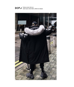 Image 4 - Winter hip hop fashion long fur collar coat 2018 cotton jacket Hoodies clothing Street wear outerwear & coats warm thick