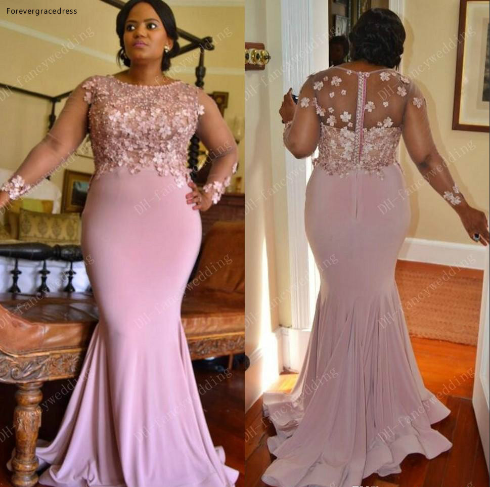 2019 Summer Spring Bridesmaid Dress Mermaid Lace Arabic Country Garden Formal Wedding Party Guest Maid Of Honor Gown Plus Size