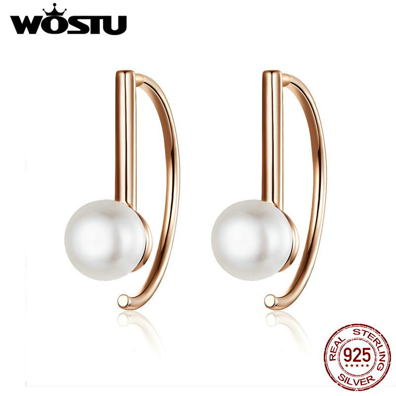 WOSTU Rose Gold Semicircle Stud Earrings 925 Sterling Silver Freshwater Pearls Small Earrings For Women Wedding Jewelry CQE604