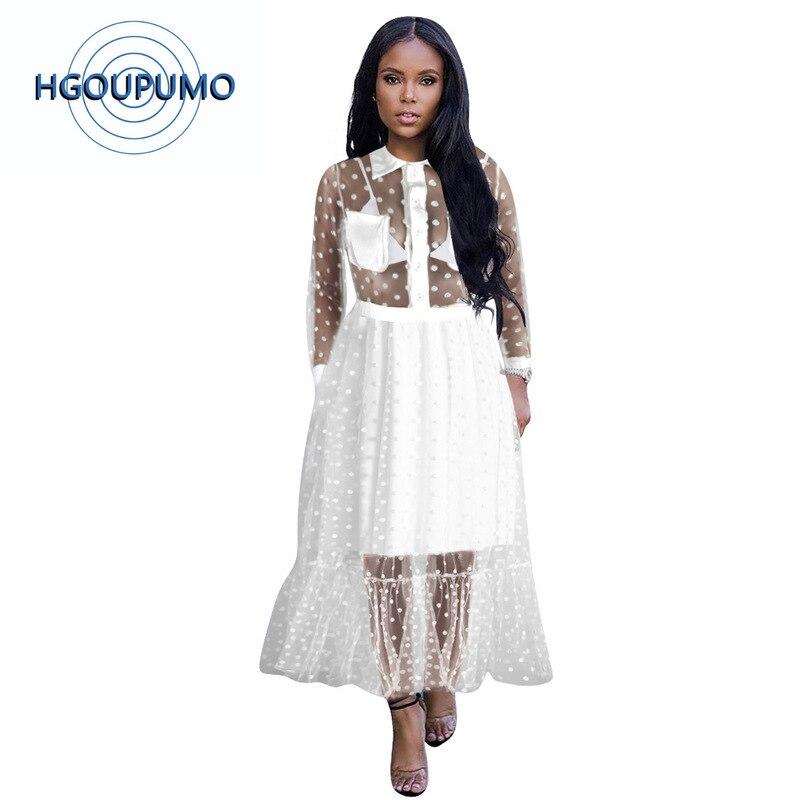 Grande taille maille transparente Dot Print Sexy Maxi robe femmes à manches longues bouton Up Perspective élégant DressRuffles longue robe de soirée