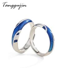 Tanggujin 925 Sterling Silver Ring Couple Adjustable Blue Enamel Rings For Women Men Lovers Jewelry Finger Wedding Band