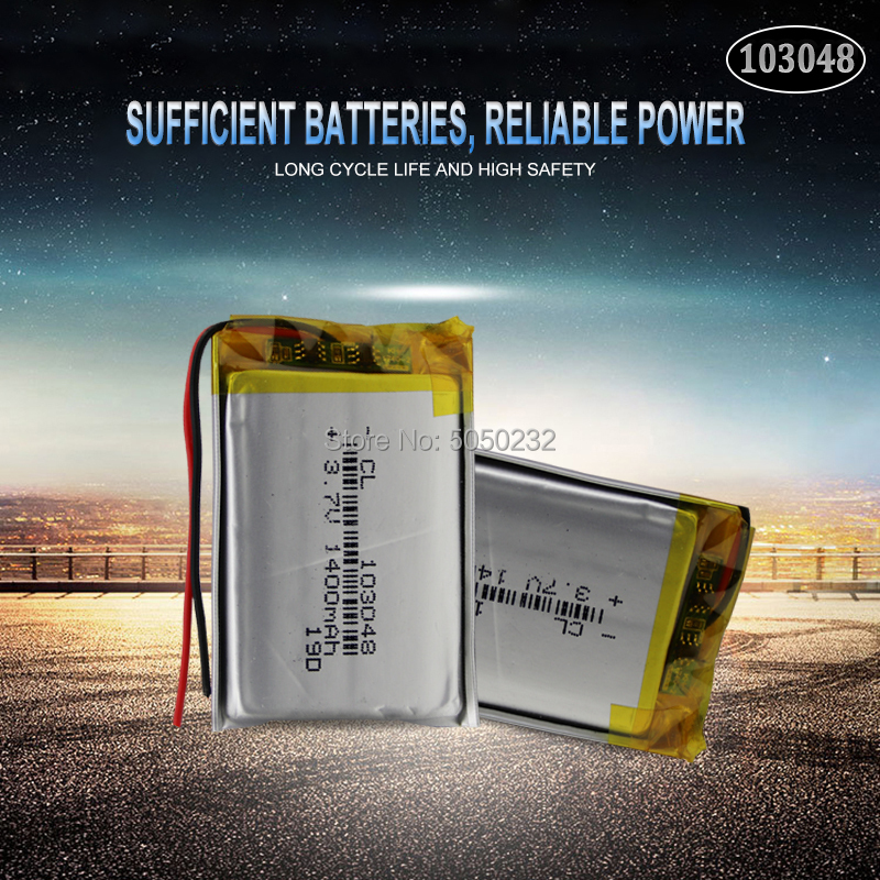 2pc <font><b>3.7V</b></font> <font><b>1400mAh</b></font> 103048 Lithium Polymer LiPo Rechargeable Battery For Mp3 Mp4 PAD DVD DIY E-book bluetooth image