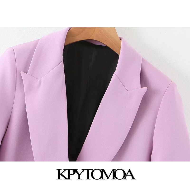 Kpytomoa Nữ 2020 Thời Trang Phục Công Sở Túi Áo Cộc Tay Phối Vintage Kiểu Chữ V Cổ Áo Nữ Tay Dài Áo Khoác Ngoài Sang Trọng Cao Cấp