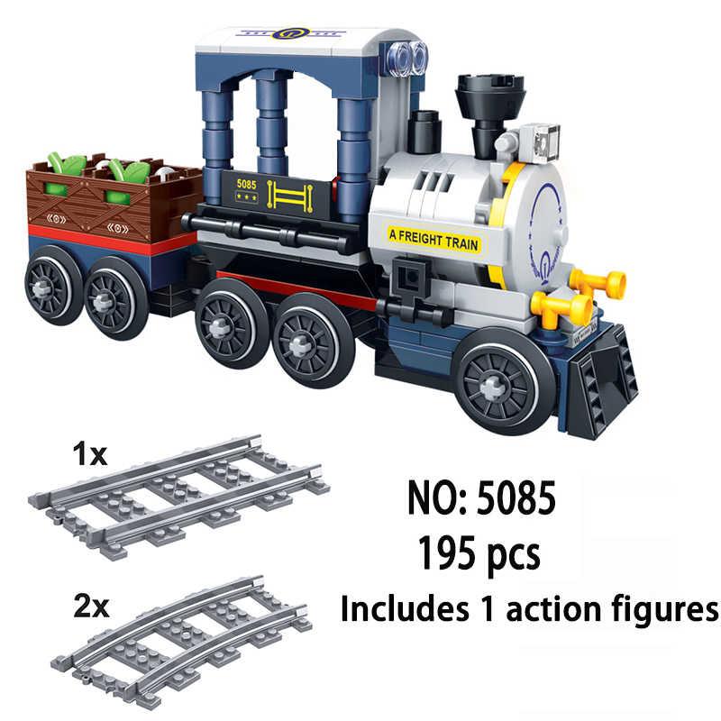 LEGOing City Train fixe chemin de fer chemin de fer Rail voie aimant connexion passager Train à vapeur LEGOings créateur blocs de construction jouets