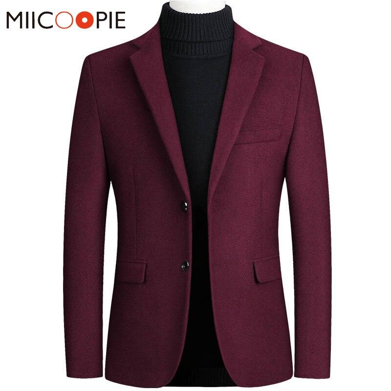 Autumn Winter Woolen Coat Men Blazer Casual Warm Slim Fit Blazers Men Suits Business Wedding Wear Solid Color Mens Suit Jacket