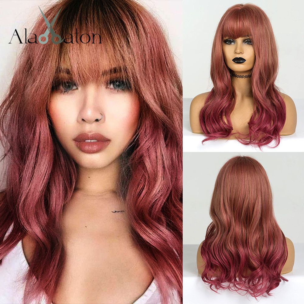 ALAN EATON Ombre Brown Red Wig Long Wavy Synthetic Wigs With Bangs For Black Women Heat Resistant Wig Lolita Cosplay Wig